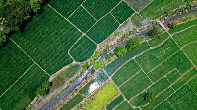 A birds eye view of fields and farm land